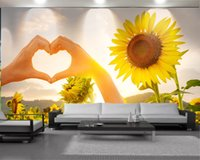 Wholesale yellow flower wallpaper resale online - 3d Wall Paper for Living Room Custom Photo Love Bright Yellow Flowers Romantic Scenery Decorative Silk Mural Wallpaper