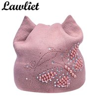 Wholesale meow beanies for sale - Group buy Women Winter Hats Female Beanies Hat Diamond Pearl Butterfly knitted Hat for Women with Meow Ear beanies Ladies Fleece