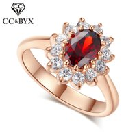 Wholesale diana engagement ring for sale - Group buy Jewelry Princess Diana Rings For Women Luxury Rose Gold Color Red CZ Stone Party Engagement Bijoux Bridal Wedding Ring