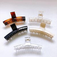 Wholesale crabs claw resale online - Korean Simple Hairpins For Women Quality Plastic Hair Claw Solid Transparent Crabs For Hair Rectangle Clamp Bathing Headwear