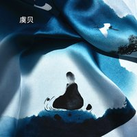 Wholesale square scarves china for sale - Group buy China classic cyan natural silk scarf for women printed real silk scarves small cm square soft handkerchief gift for lady