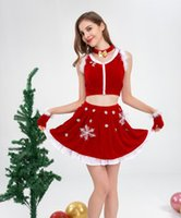 Wholesale lingerie fast shipping resale online - fast New Christmas ladies breast suit sexy lingerie dress ds nightclub outfit Stage skirt