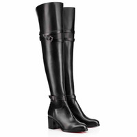 Wholesale women suede sole resale online - Winter Tall Boot Women Shoes Luxury Red Bottom Female Boots Red Sole Thigh High Boots Sexy Lady Over Knee Karialta Black Genuine Leather Par