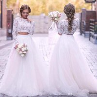Wholesale tulle dreses resale online - Summer Bohemian Two Pieces Wedding Dreses A Line Sheer Long Sleeves Appliques Lace Tulle Long Bridal Gowns Custom Made