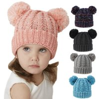 Wholesale knitted baby hat balls resale online - Baby Winter Hat Girl Lovely Double ball Knitted Cap Kids Toddler Warm Skullies Caps Baby Crochet Pompom Caps Outdoor Warm Cap OOA9066