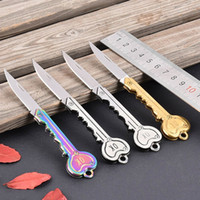 Wholesale self defense multi tool resale online - Key Shape Knife Mini Open kit gadget Keychain Fold Pocket Keyring Ring Box Package Multi Tool Camp Key Opener Survive Outdoor Blade Letter