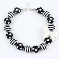 Wholesale baby toddler jewelry resale online - 2016 Baby Girls Black White Beads Necklace Kids Girl Bubblegum Toddler Jewelry Necklace Chunky Princess Necklace Jewelry Free Ship