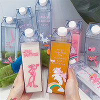 Wholesale cute pink panther for sale - Group buy Unique Mini Cute Water Bottles Milk Box Shape Transparent Plastic Cartoon Pink Panther Drink Bottle Coffee Beer Drinkware T8190627