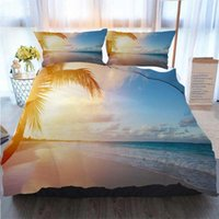 Wholesale tropical art prints resale online - 3D Printed Merry Christmas Bedding Set Art Beautiful Sunrise Over The Tropical Beach Duvet Cover Designer Bed Comforters Sets