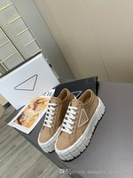 Wholesale tire treads for sale - Group buy Hot Gabardine sneakers gabardine Cotton laces Rubber sole with tire tread Womans luxury designer canvas shoes flat with box Size35