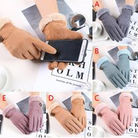 Wholesale finger pulls resale online - Winter Gloves Women Fashion Vintage Casual Driving Gloves Windproof Warm Full Finger Women Mittens Pull Femme Hiver Handschoenen