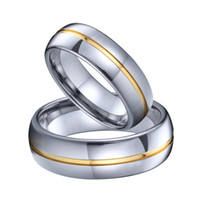 Wholesale tungsten carbide wedding ring sets for sale - Group buy Gold Line Alliances Tungsten Carbide jewelry marriage couple Wedding Rings set for men and women mm anti scratch