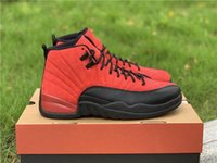 Wholesale retro 12 red suede resale online - Release Air Authentic Reverse Flu Game Basketball Shoes Varsity Red Black Suede Upper Retro Real Carbon Fiber S Men Sneakers With Box