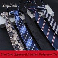 Wholesale zipper tie resale online - 5cm New Classic Striped Neckwear Cravat Easy To Pull Lazy Necktie Narrow Business Dress Meeting Interview Wedding Zipper Man Tie