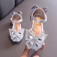 Wholesale rubber shoes for dancing resale online - Silver Pink Bling Bling Rhinestone Butterfly Crystal sandal kids Princess Shoes for wedding party girls dance Performance shoes