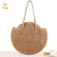 Wholesale big woven beach bags resale online - Oswego Round Straw Bag New Big Simple Hand Woven Shoulder Bag Rattan Woman Summer Beach Bag Travel Shopping Female Tote