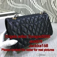 Wholesale black quilted handbag gold chain for sale - Group buy Caviar quilted chain strap handbag cm flap gold hardware TOP famous brand black plaid C genuine leather purse women cross body bag cm