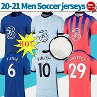 Wholesale home blue soccer resale online - PULISIC HAVERTZ soccer jersey The Blues soccer shirts ZIYECH T SILVA home away third customized Football uniforms