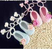 Wholesale hand crocheted baby shoes resale online - Newborn Photography Accessories Hand Crochet Baby Shoes hand woven soft soled shoes baby cartoon shoes