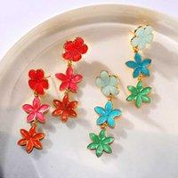 Wholesale red flower earings resale online - korean boho red green long flower dangly earrings for womens accessories mujer jewelry ear rings aretes de mujer wedding earings