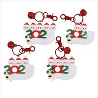 Wholesale pvc xmas decorations for sale - Group buy PVC Christmas Keychain DIY Xmas Wishes With Face Mask Family of Hanging Pendant Name Pendants Decoration Gift Party Favor LJJP574