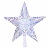 Wholesale christmas tree color changing led lights resale online - Five Pointed Star Christmas Tree Top Light Color Changing LED Luminous Christmas Tree Top Hat Party DIY Decoration Accessories