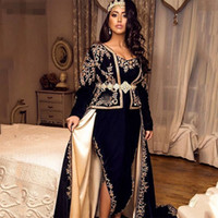 Wholesale evening dresses outfits resale online - Mermaid karakou Algerian Evening Dresses sexy side slit Velvet Long Sleeves Outfit Applique Lace Chalka Prom Gowns Muslim Formal Party