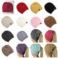 Wholesale stylish winter women hats resale online - CC Ponytail Beanie Hats Color Women Crochet Knit Cap Winter Skullies Beanies Warm Caps Female Knitted Stylish Hats Big Kids Hat