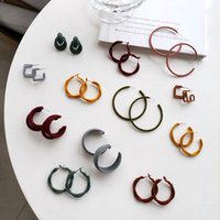 Wholesale hoop earring sold resale online - Fashion Jewelry Hoop Earrings Hot Selling Autumn Winter Design Metal Geometric Round Warm Velvet Earrings For Women Jewelry Gift