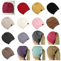 Wholesale stylish winter women hats resale online - CC Ponytail Beanie Hat Colors Women Crochet Knit Cap Winter Skullies Beanies Warm Caps Female Knitted Stylish Hats Big Kids Hats