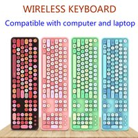 Wholesale candy notebook resale online - BADIDEAR G Wireless Keyboard Set Mixed Candy Color Roud Keycap Keyboard and Mouse Comb for Laptop Notebook PC Girls Gift