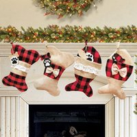 ingrosso cane di calze-Sacchetto Stockings regalo di Natale Dog Bone Bone Fish Shape Plaid Azioni sospese Xmas Tree Decoration Candy Bag HHA1576