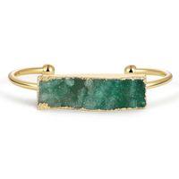 Wholesale green crystal bangles resale online - Hesiod Green Natural Crystal Rectangular Irregular Stone Beads Bracelet Open Bangle for Women Men Unisex