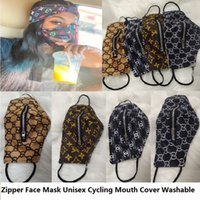 Wholesale covered cycle resale online - Fashion Zipper Face Mask Washable Quick Dry Zipper Masks Outdoor Zip Open Cover Grid Printing Cycling Mouth Covers Eat Drink In Public