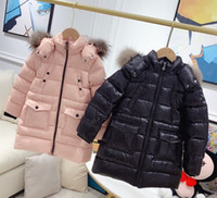 Wholesale denim girl winter jackets for sale - Group buy 2020 new new Children s super high quality girls boys winter down jacket kids With real wool hooded jacket baby