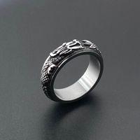 Wholesale finger spinner steel resale online - Hip Hop Viking Nordic Mythology Dragon Men Rotatable Stainless Steel Ring Defense Totem Rock Unisex Finger Spinner Ring Gift