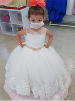 Wholesale hand made full sleeve girl dress resale online - Full Lace Flower Girl Dresses for Weddings Jewel Neckline Long Sleeves Custom Made Girls Pageant Gowns A line Kid Birthday Party Dress