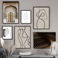 Wholesale nude body painting for sale - Group buy Abstract Line Body Woman Morocco Door Wall Art Canvas Painting Nordic Posters And Prints Wall Pictures For Living Room Decor