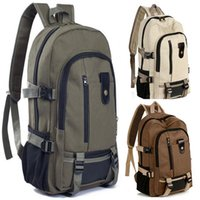 Wholesale vintage style hiking backpacks resale online - 35 Vintage Travel Canvas Leather Backpack Rucksack Satchel School Hiking Bag Waterproof Climbing Unisex travel men Backpack