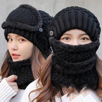 Wholesale Winter Beanie Hat Scarf and Mask Set Pieces Knitted Hat Cap Neck Thick Knit Winter Hats Warm scarfs Skullies Beanies Dad Cap EWC2823
