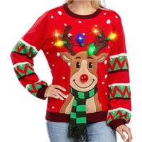 Wholesale led jumpers resale online - 2020 Autumn O Neck Christmas Sweater Women Casual Long Sleeve Knitted Sweater Top Winter with Led Light kawaii Pullover Jumpers