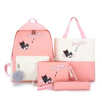 Wholesale cute bags set for girls resale online - 4 Sets Woman Laptop Backpack Ribbons School Backpacks cute cat Schoolbag For Teenagers Girls Student Book Bag Female Satchel