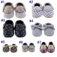 Wholesale polka dot infant soft shoes resale online - New Arrive Baby Leather Suede Moccs Colors Choose Infant Tassels Bow Polka Dot Sequin Shoes Kids Soft Leather Layers First Walker Shoes