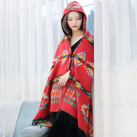 Wholesale winter shawls india resale online - m65Xi Tibet Nepal scarf shawl Ethnic shawls India ethnic style autumn and winter Yunnan travel Cape shawl thickened hooded bohemian scarf