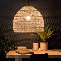 Wholesale chinese restaurant decor resale online - New Chinese Style Rattan Lamp Pendant Light Vintage Hanging Lamp LED Living Room Dining Room Home Decor Cafe Restaurant Hanglamp