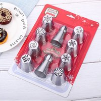 Wholesale christmas ice cream cake resale online - 10pcs Rose Cream Bakeware Cupcake Cake Decorating Christmas Pastry Nozzles And Coupler Icing Piping Tips Stainless Steel Sets1