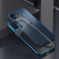 Wholesale clear back plate iphone for sale – best Transparent TPU Plating Case for iPhone Pro Max Thin and Soft Clear Back Cover Case