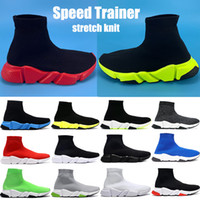 new high fashion shoes groihandel-New fashion Speed Trainer men women sock casual shoes black green university red white volt high oreo stretch knit mens Sneakers