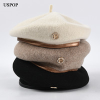 USPOP 2020 New women berets winter warm hats wool beret hat diamond letter H beret
