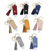 Wholesale flat keyring resale online - Hand Sanitizer Bottle Cover PU Leather Tassel Holder Keychain Protable Keyring Cover Storage Bags Home Storage Organization